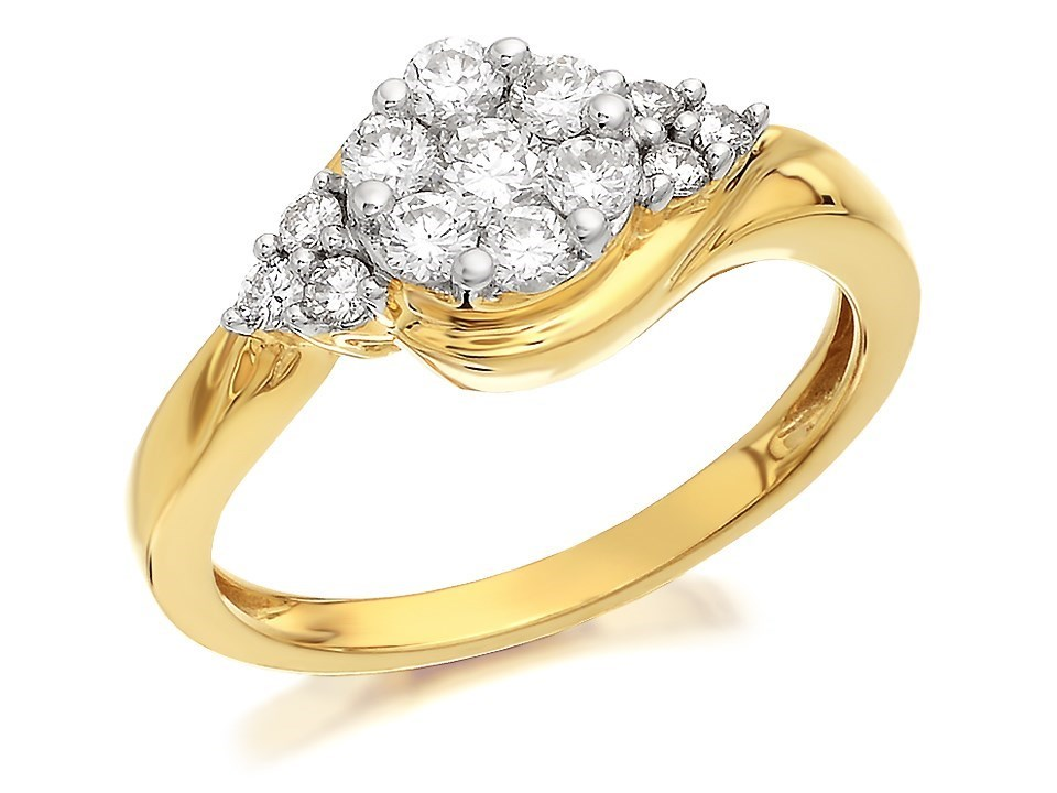 9ct gold crossover cluster ring 1 2ct d9317