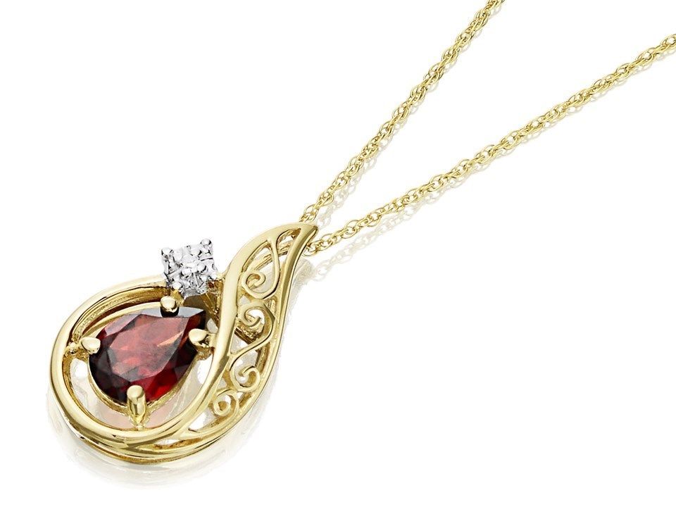 c41e62225 Default Image 9ct Gold Diamond And Garnet Necklace - D9750Alternative Image1