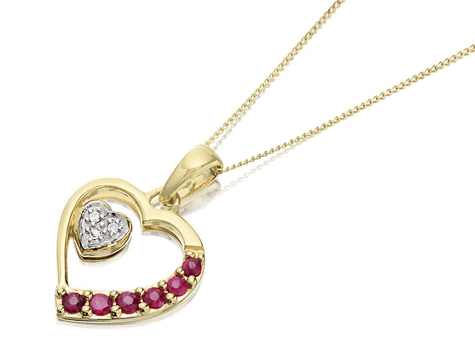 9ct Gold Ruby And Diamond Heart Necklace D9755 F Hinds