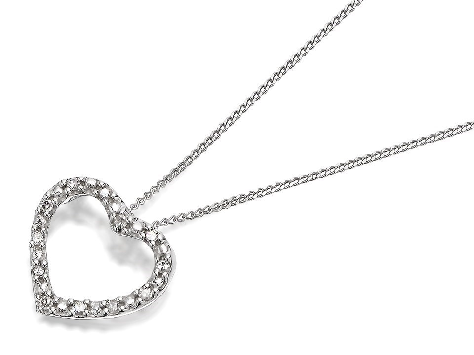 9ct white gold diamond open heart pendant and chain d9821 f 9ct white gold diamond open heart pendant and chain d9821 mozeypictures Image collections