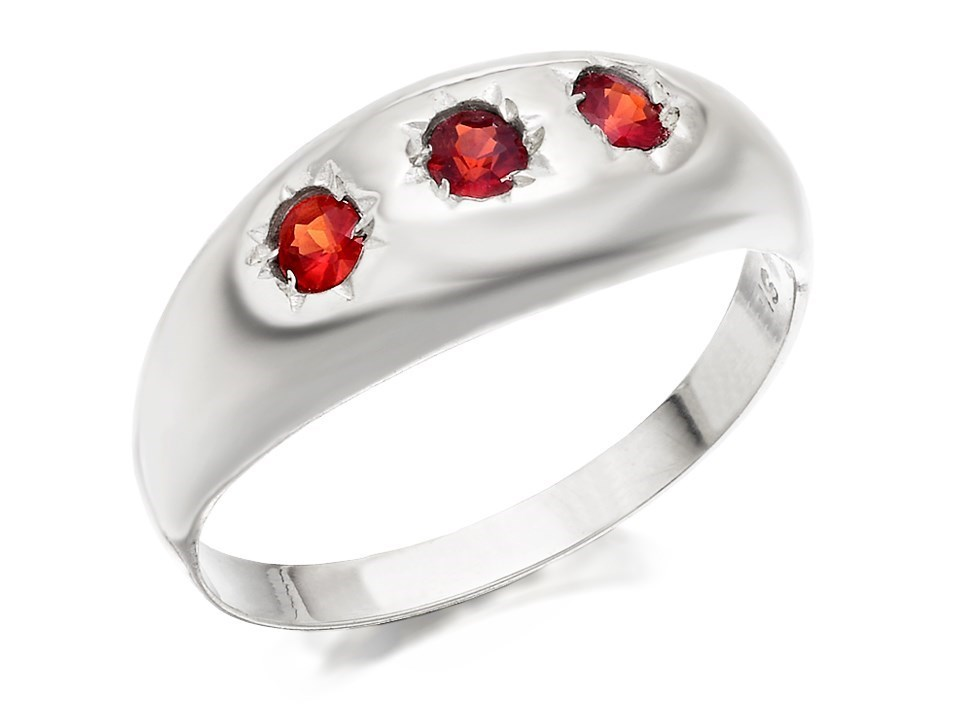 silver trilogy garnet signet ring f5176 f hinds jewellers