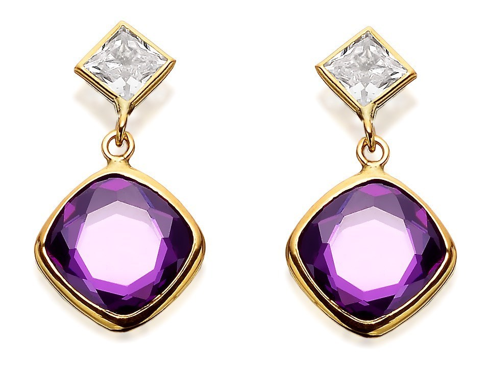9ct Gold Lilac Cubic Zirconia Drop Earrings odFkEA