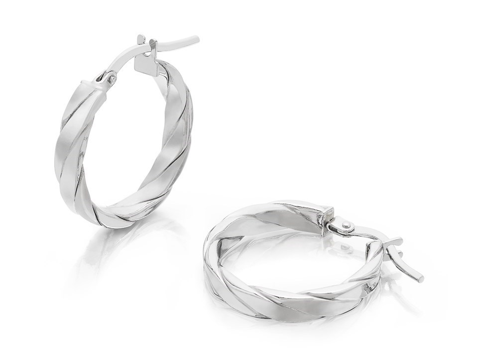 9fb3f22e8 9ct White Gold Twisted Hoop Earrings - 15mm - G2105. Product. Tap to expand