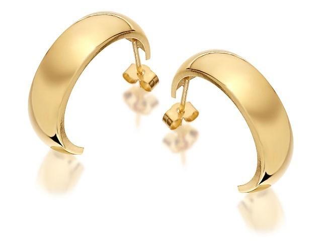 9ct Gold Half Hoop Earrings 20mm G2526