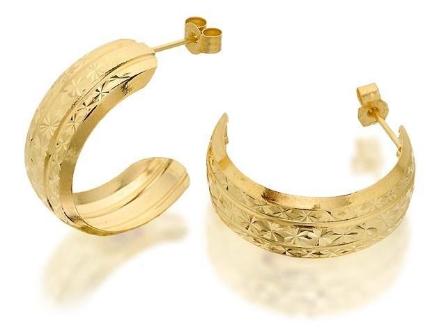 9ct Gold Stars Half Hoop Earrings 8mm G2594