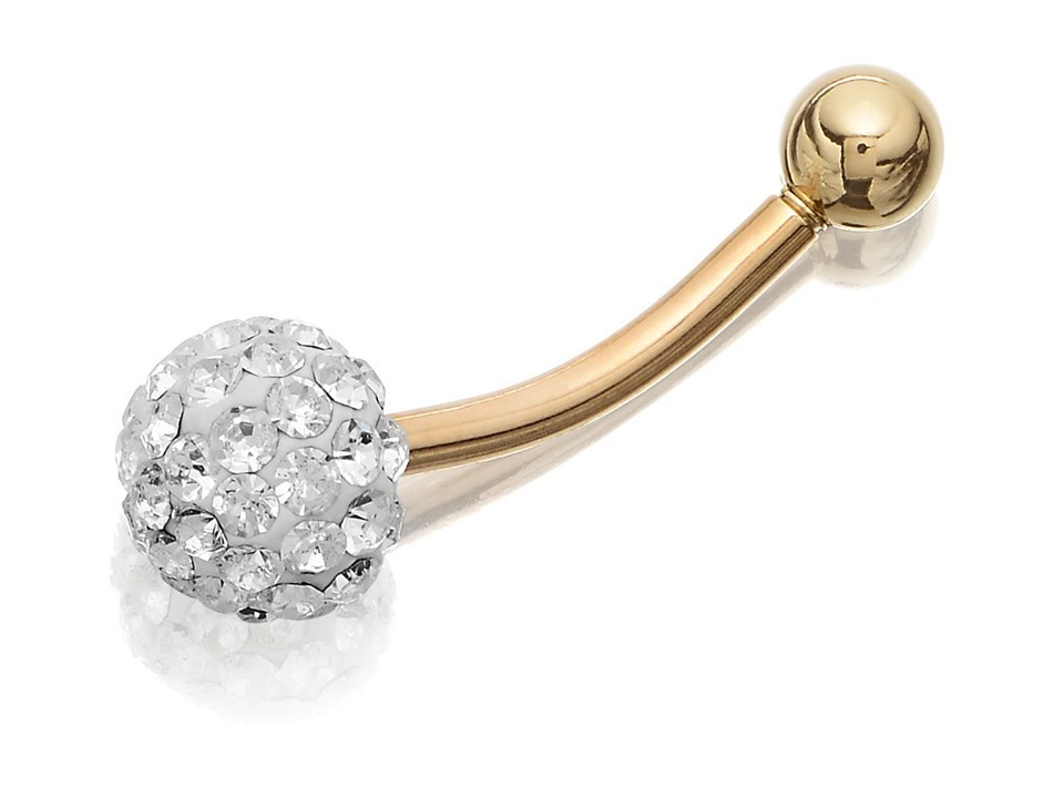 9ct Gold Crystal Ball Belly Bar 10mm G4720 F Hinds Jewellers