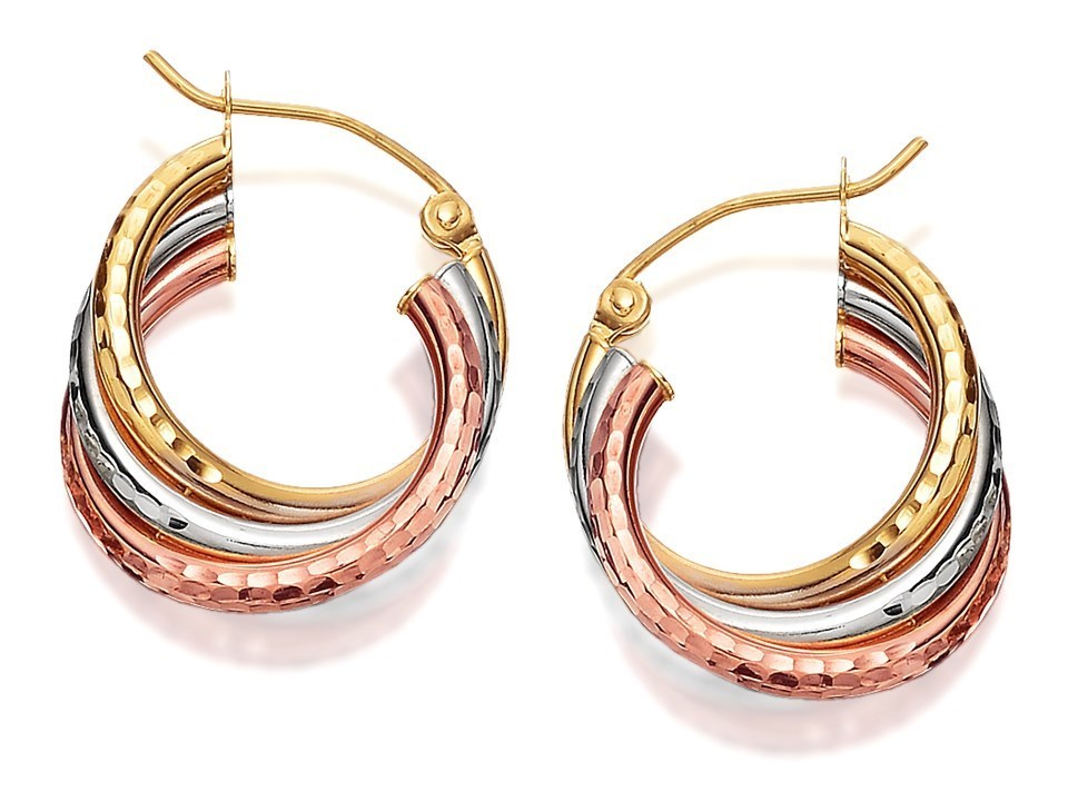 855781337ddaa 9ct Three Colour Gold Diamond Cut Hoop Earrings - 16mm - G4908