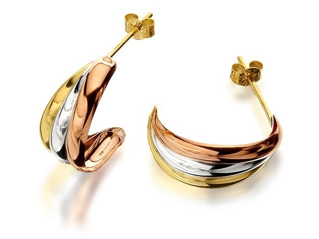 dfb689571268b 9ct Three Colour Gold Half Hoop Earrings - 16mm - G4975