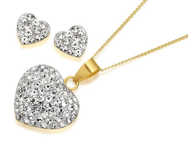 F.Hinds 9ct Gold Crystal Heart Pendant and Chain Necklace Jewelry Women Gift