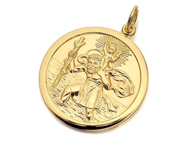 9ct gold double sided st christopher medallion 25mm g5374 f 9ct gold double sided st christopher medallion 25mm g5374 mozeypictures Images