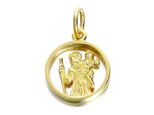 9ct Gold Cut Out St Christopher Medallion 14mm G5378