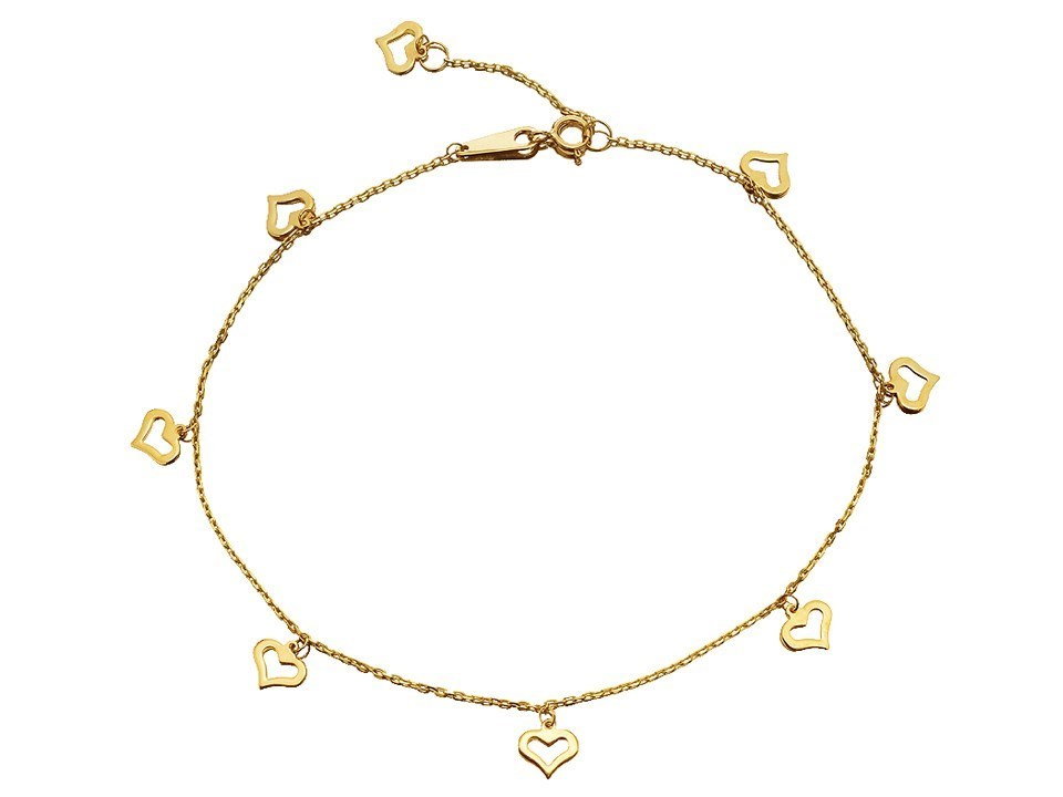 F.Hinds Womens Jewellery 9ct Yellow Gold Eight Hearts Anklet Chain