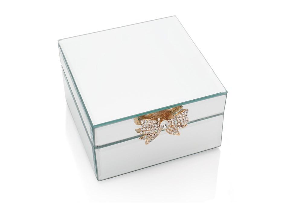 Sophia Crystal Bow Mirror Jewellery Box, Swarovski Jewellery Box With Mirror