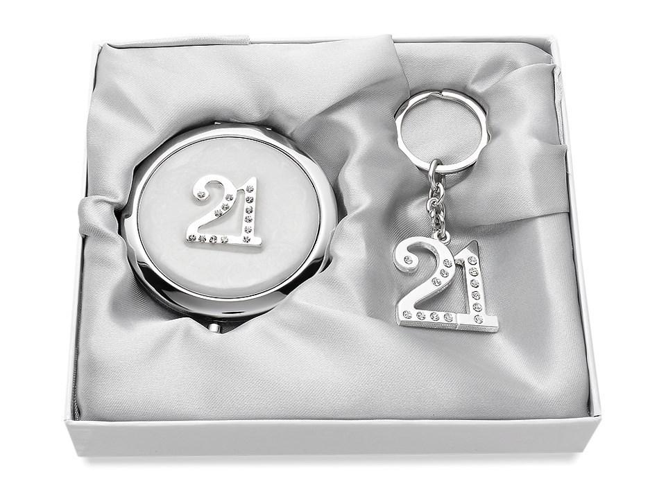 Sophia Silver Plated Crystal 21st Birthday Compact Mirror And