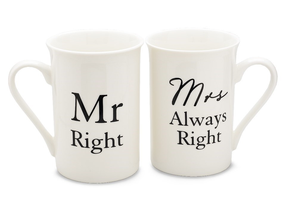 F Hinds Wedding Gifts : Mr & Mrs Mug Set - P7101 F.Hinds Jewellers