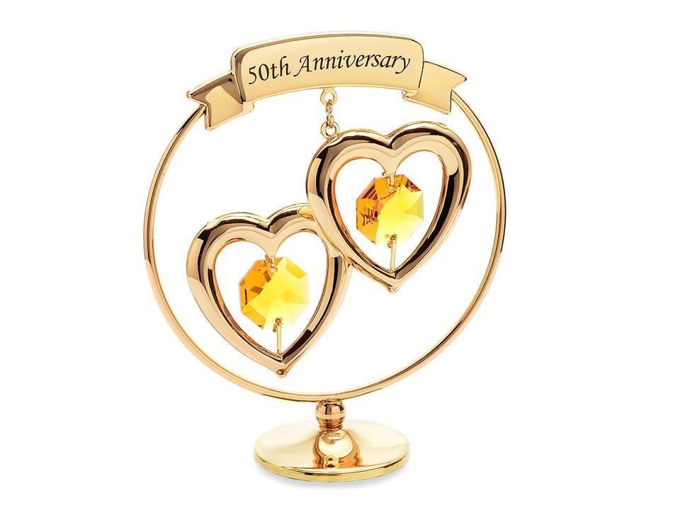 Crystocraft Entwined Hearts 50th Wedding Anniversary Stand P71116 F Hinds Jewellers