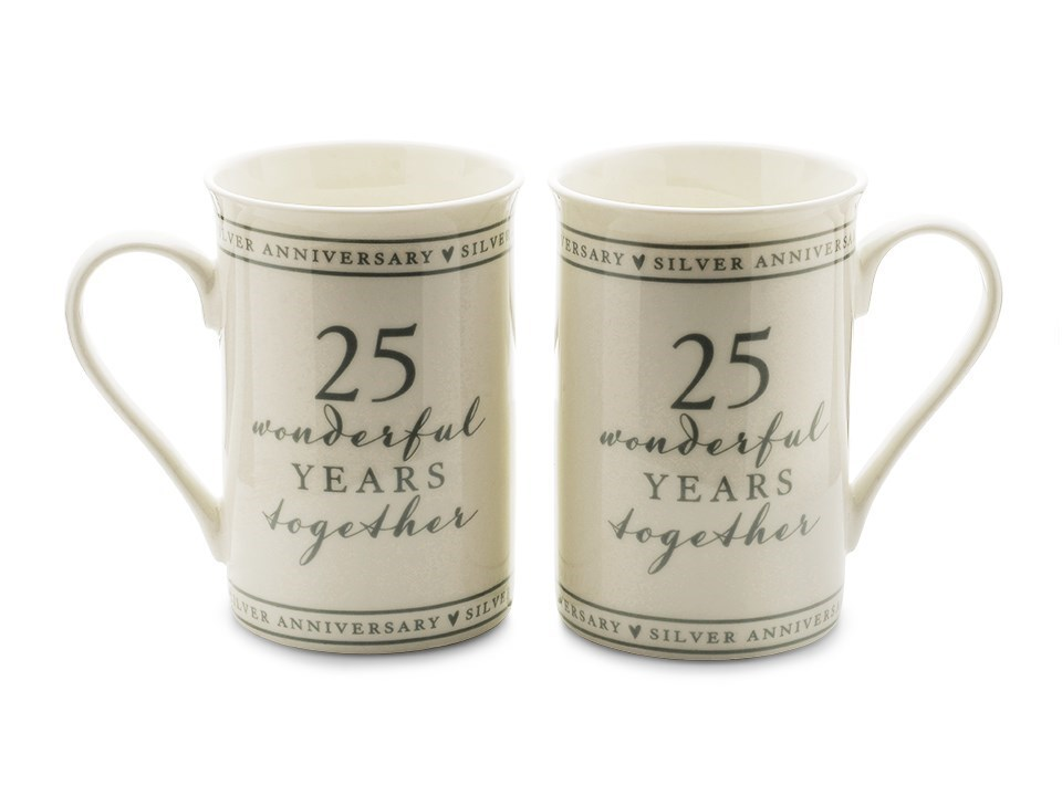 F Hinds Wedding Gifts : ... 25 Wonderful Years Anniversary Mug Set - P71121 F.Hinds Jewellers