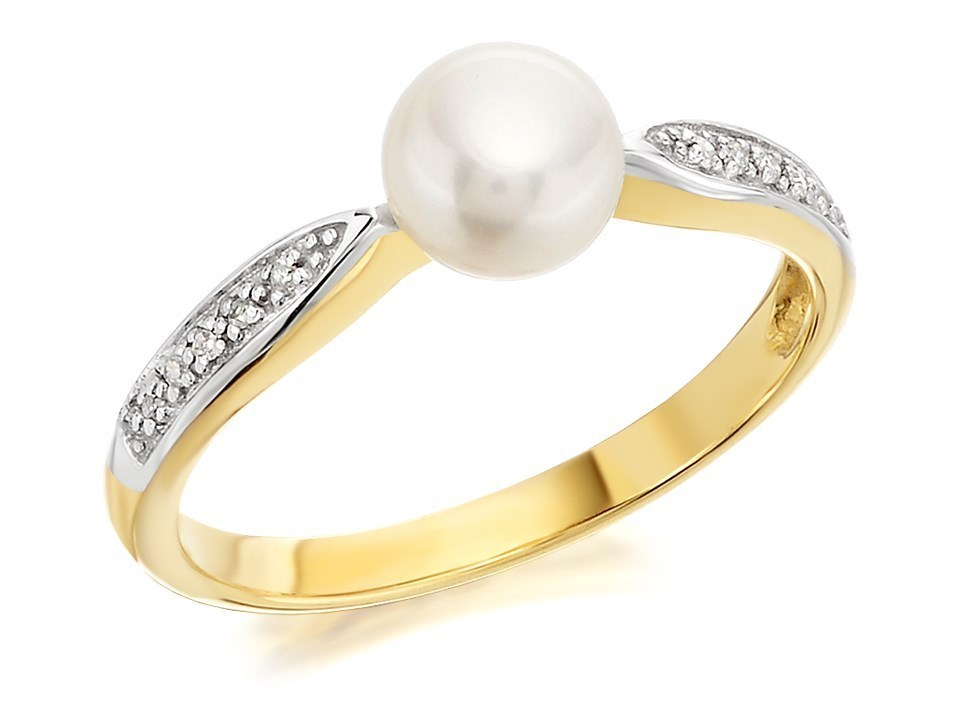 eba0be197 Default Image 9ct Gold Two Colour Diamond And Freshwater Pearl Ring -  R0424Alternative Image1. compare