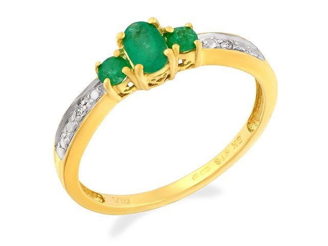 9ct Gold Diamond And Emerald Ring R0905