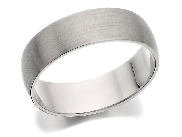 palladium 500 d shaped brushed finish wedding ring 6mm