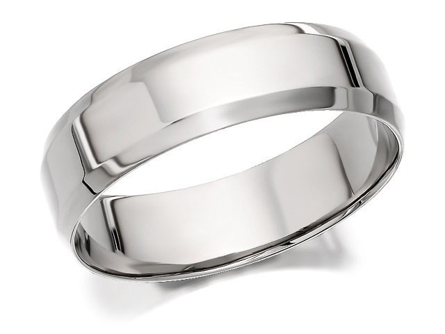Palladium 500 Bevelled Edge Wedding Ring 6mm R1209 FHinds
