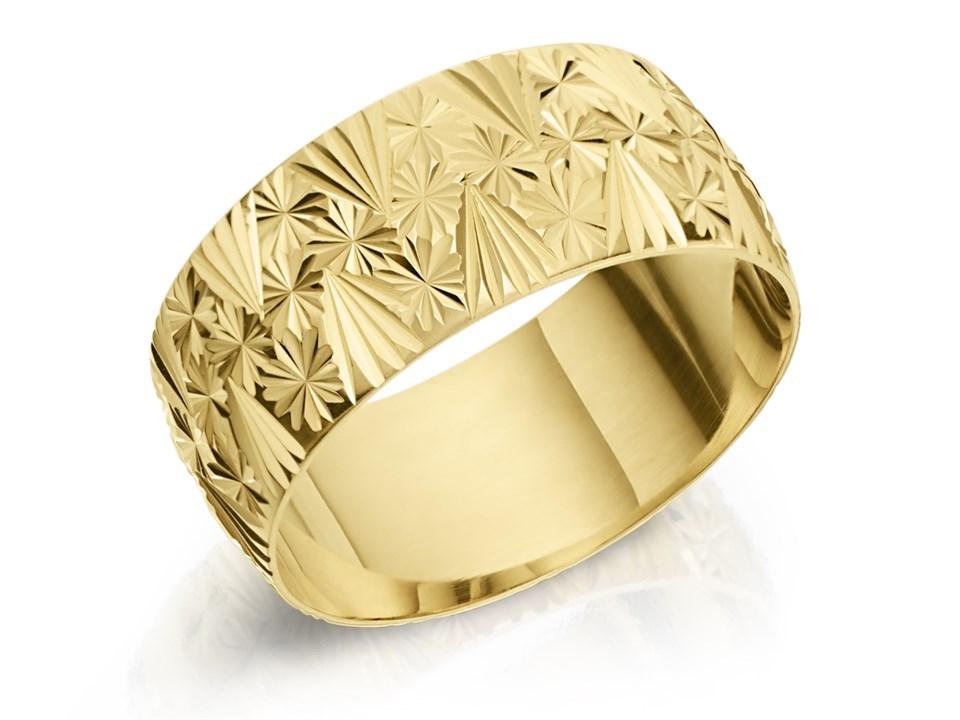 9ct Gold Diamond Cut Wedding Ring 8mm R1607 F Hinds Jewellers