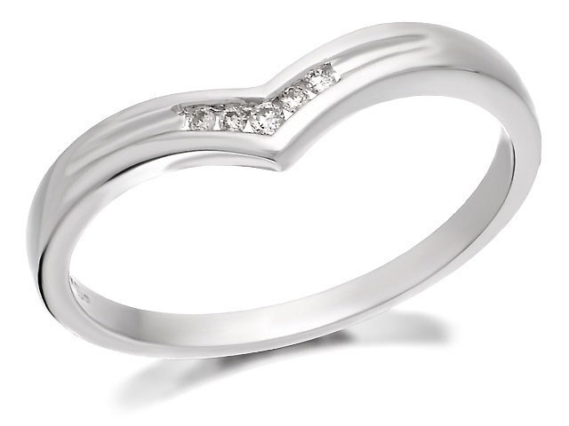 9ct White Gold Diamond Wishbone Ring R2021 FHinds Jewellers
