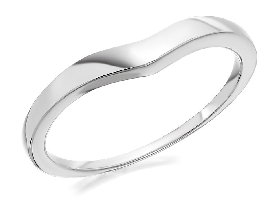 9ct White Gold Dainty Wishbone Wedding Ring 2mm R2302 FHinds
