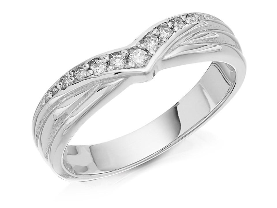 9ct White Gold Diamond Set Wishbone Wedding Ring 4mm R2430 F