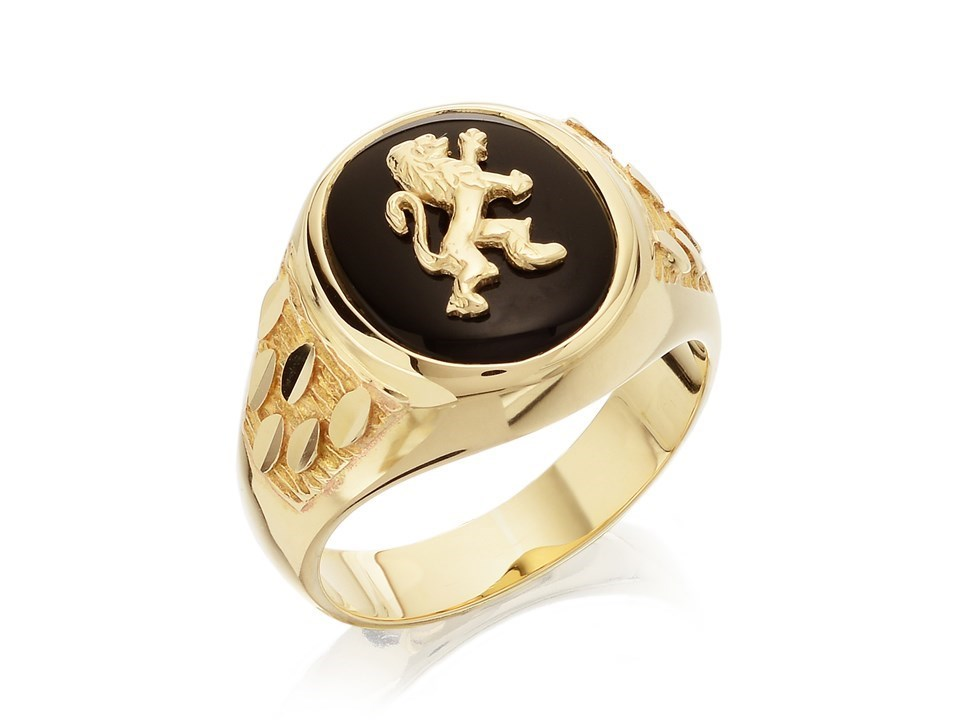 6963717e2ca03 9ct Gold Heavyweight Onyx Lion Ring - R3707