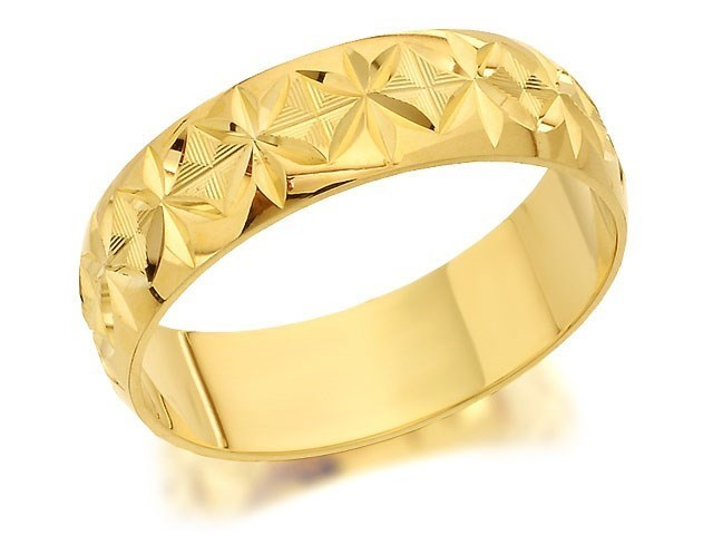 9ct Gold Diamond Cut Wedding Ring 5mm R4298 F Hinds Jewellers