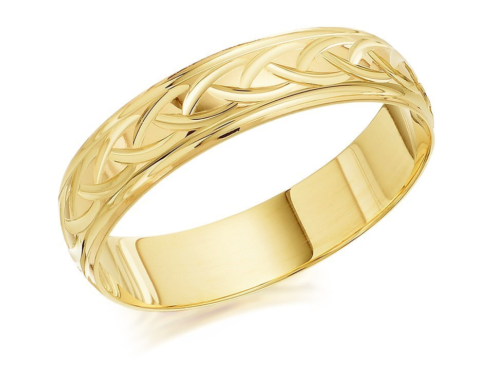 9ct gold woven diamond cut wedding ring 5mm r4349 f for Woven wedding ring