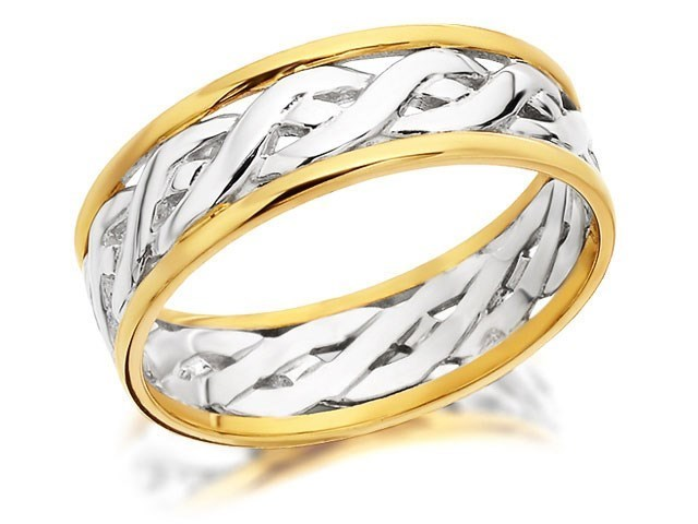 9ct Two Colour Gold Weave Wedding Ring 6mm R4379 FHinds Jewellers