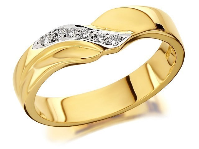 9ct Gold Two Colour Diamond Set Wedding Ring 4mm R4426 F Hinds Jewellers