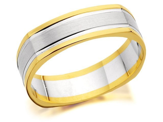 9ct Two Colour Gold Square Edged Wedding Ring