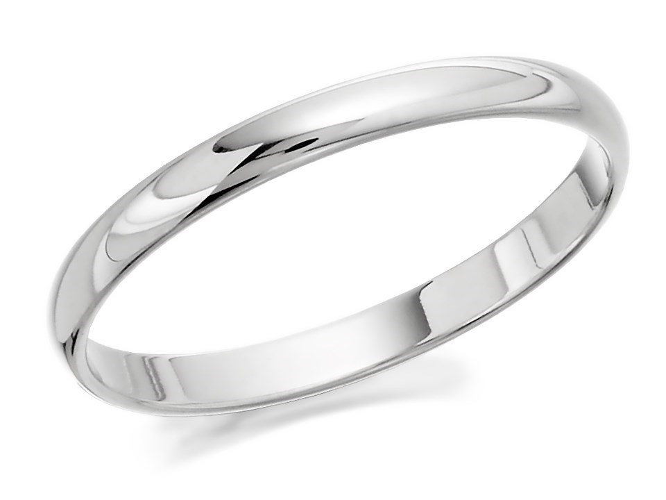 White Gold Wedding Rings.9ct White Gold D Shaped Wedding Ring 2mm R5512