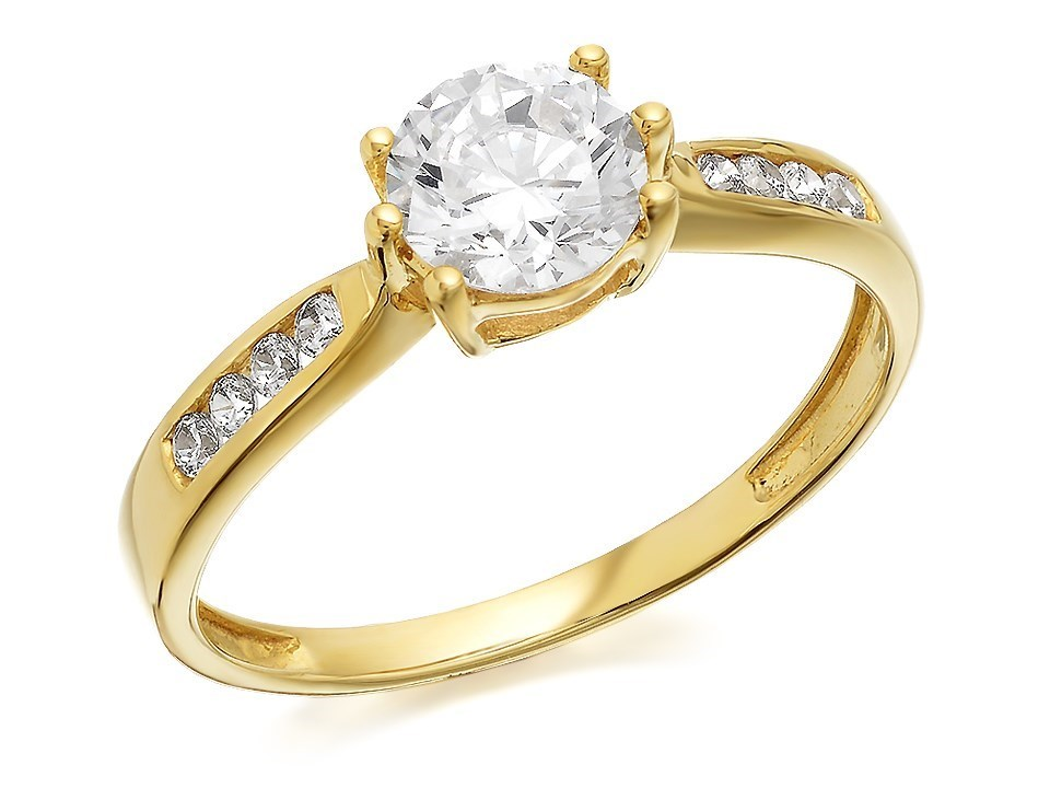 9ct gold cubic zirconia solitaire ring r5908 f hinds