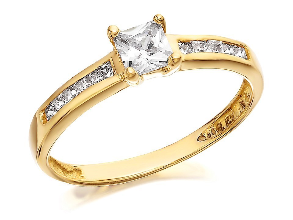 9ct gold princess cut cubic zirconia ring r5914 f
