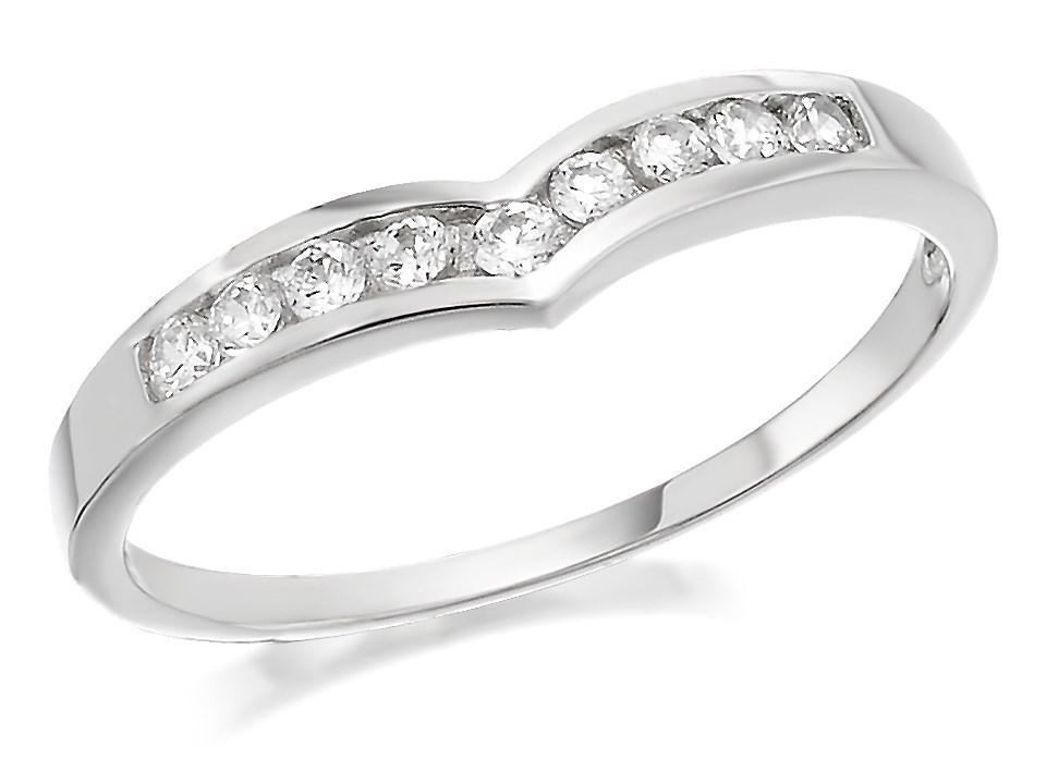 9ct white gold cubic zirconia wishbone ring r5924 f