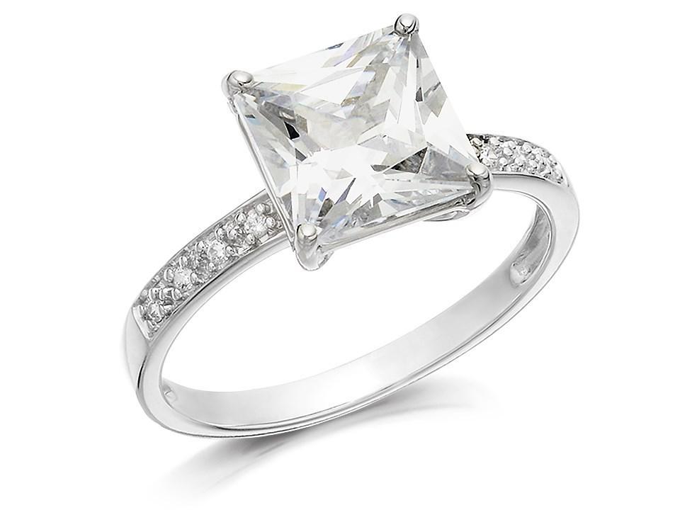 9ct white gold princess cut cubic zirconia ring r5926