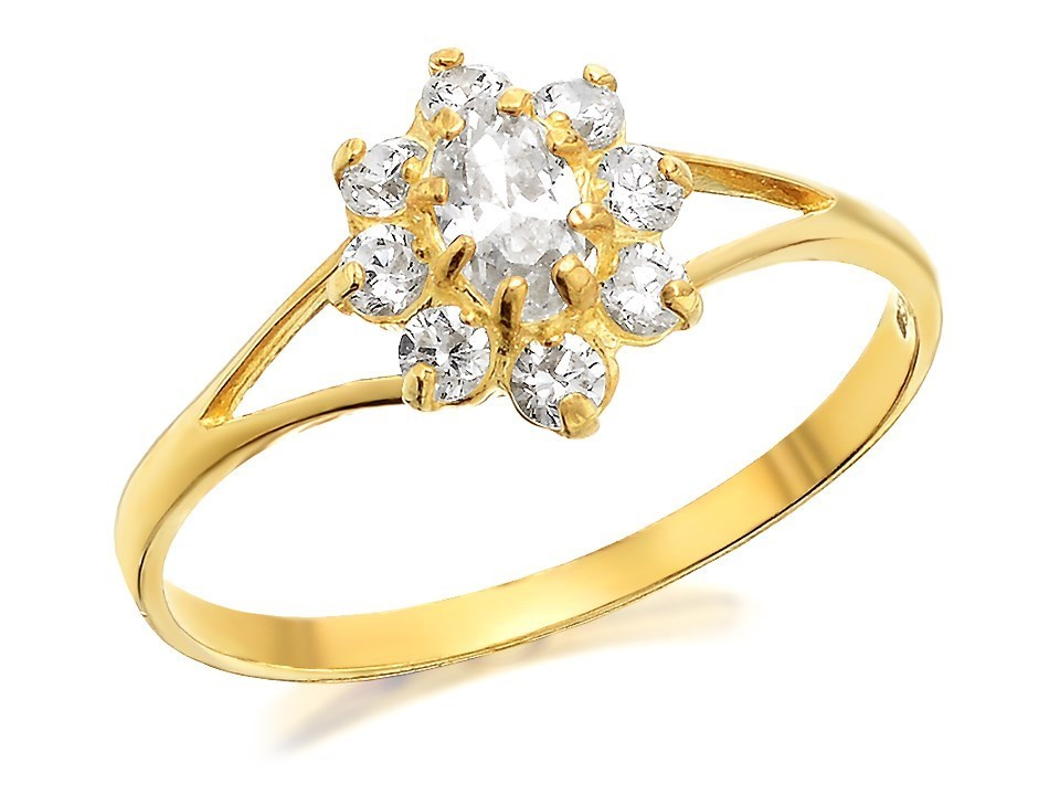 9ct gold cubic zirconia cluster ring r6507 f hinds