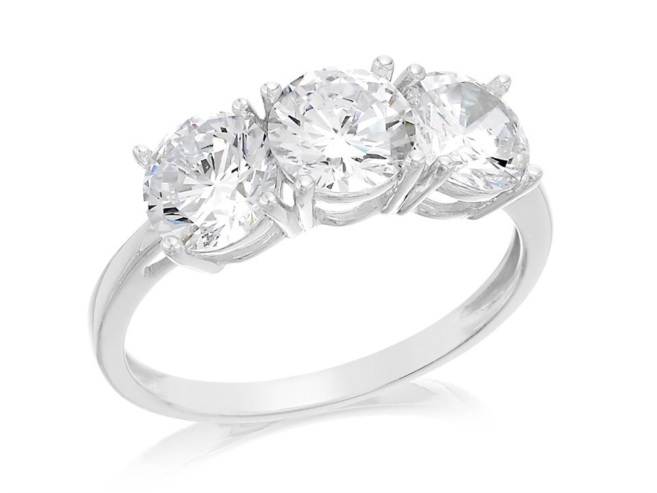 9ct White Gold Cubic Zirconia Trilogy Ring R6525 F Hinds Jewellers