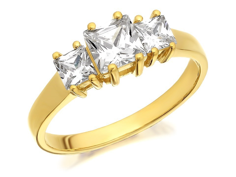 9ct gold cubic zirconia princess cut trilogy ring r6554