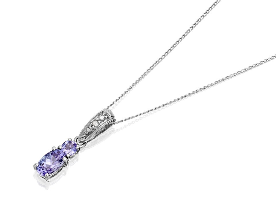 9ct white gold diamond and tanzanite pendant and chain r8344 f 9ct white gold diamond and tanzanite pendant and chain r8344 aloadofball Image collections