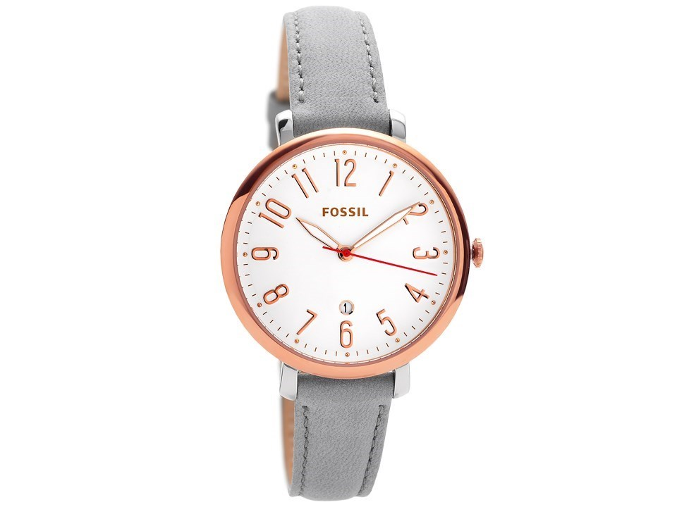 Fossil Es4032 Jacqueline Rose Gold Plated Grey Leather