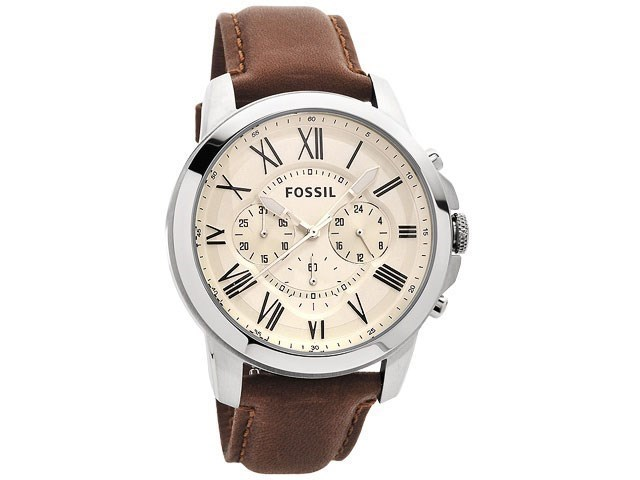 Default Image Fossil FS4735 Grant Chronograph Brown Leather Strap Watch ... 6716ade9a0c3