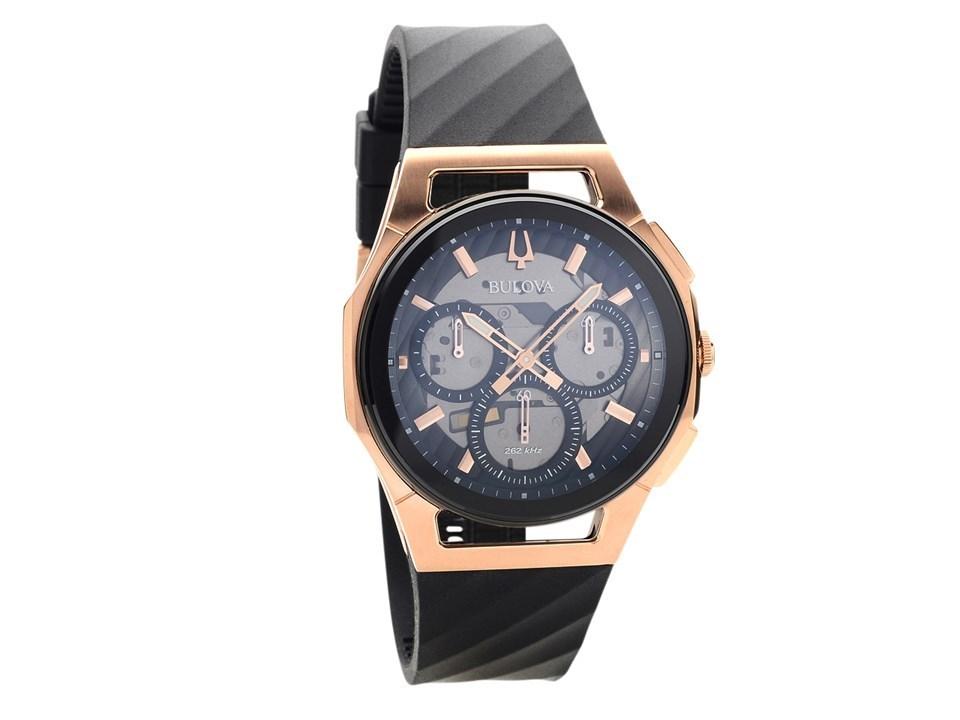 e8c45c89c Bulova Curv 98A185 Chronograph Black Resin Strap Watch - W09132 | F ...