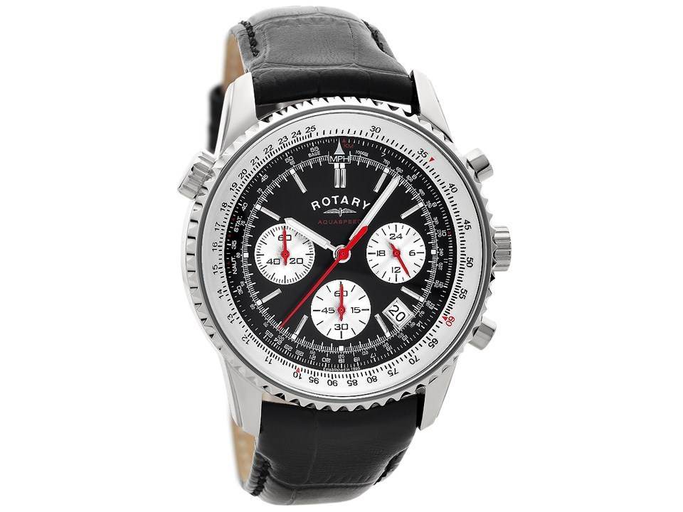 rotary gs00015 19 stainless steel chronograph black