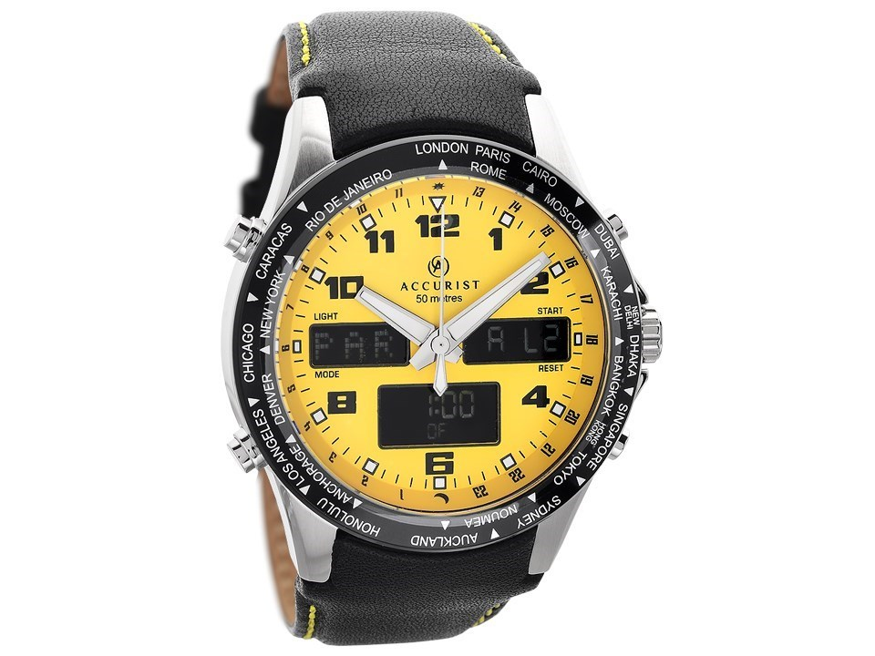 Accurist 7041 Yellow Dual Display Black Leather Strap Watch