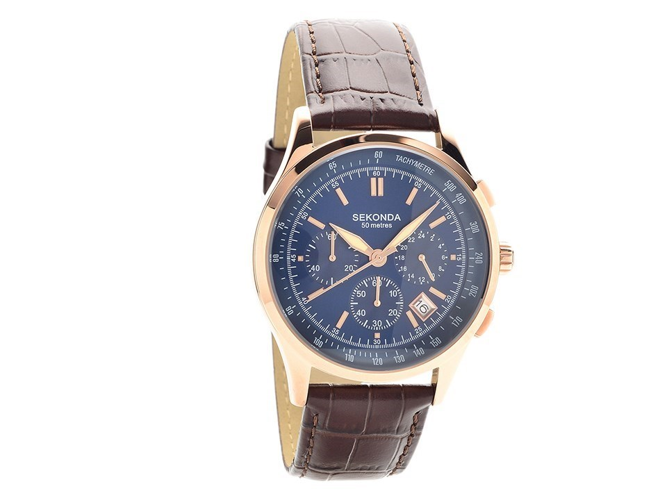 Sekonda 1157.27 Rose Gold Plated Chronograph Brown Leather Strap ...
